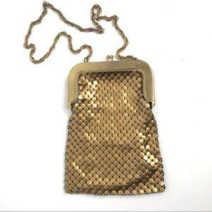 Whiting and Davis Purse Bag Designer Gold Mesh